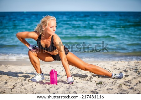 fitness and lifestyle concept - woman doing sports outdoors - stock photo
