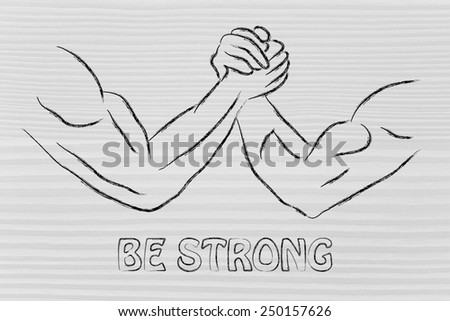 fitness and strength training: arm wrestling challenge illustration, be strong - stock photo
