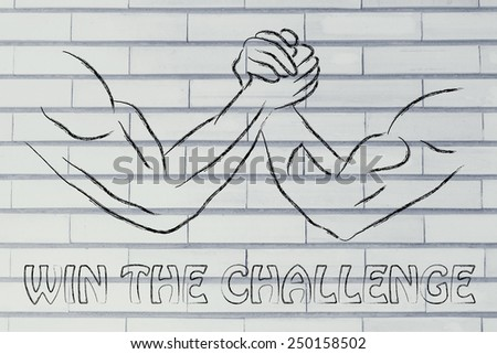 fitness and strength training: arm wrestling challenge illustration, win the challenge - stock photo