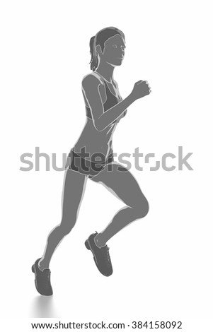 Fitness and stretching on white isolated - warm up concept - stock photo