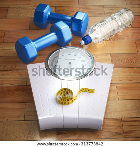 Fitness and weight loss concept. Weigh scales, dumbells and measuring tape. 3d - stock photo