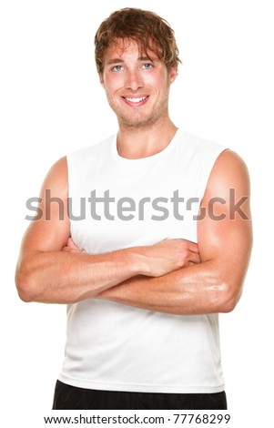 Fitness athlete man portrait- Young muscular sporty fit caucasian man isolated on white background. - stock photo