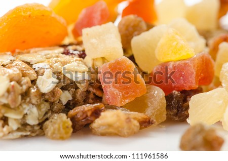 Fitness bar and dried fruits - stock photo