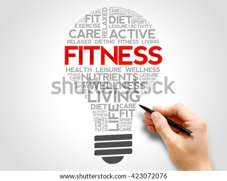 Fitness bulb word cloud, health concept - stock photo