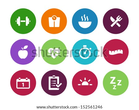 Fitness circle icons on white background. See also vector version. - stock photo