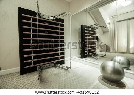 saw mill gym empty boxing area gym fitness club stock photo 345068285