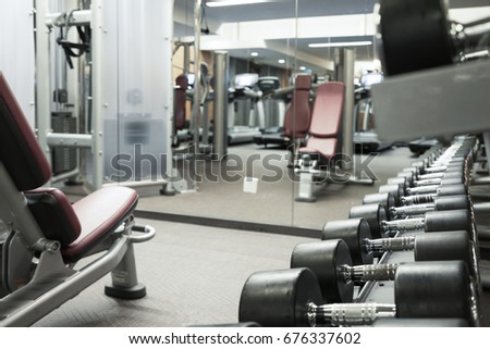 Fitness club weight training equipment gym modern interior