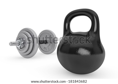 Fitness concept. Kettlebell and dumbbell on a white background - stock photo