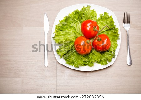 Fitness concept with healthy dieting and healthy lifestyle.Concept of diet,health and nutrition.Vibrant colorful vegetables on plate.Eating salad.Bright red tomatoes and lettuce diet meal - stock photo