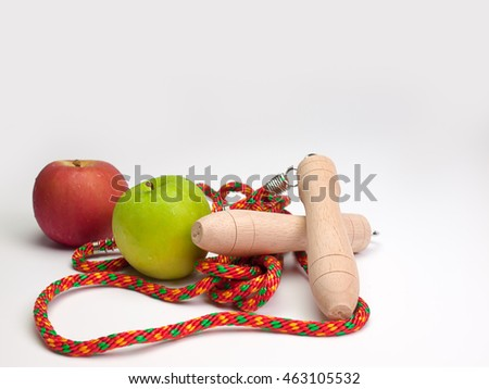 Fitness concept  with   Jumping rope  and fresh fruits