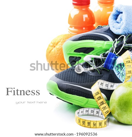 Fitness concept with sport shoes and healthy nutrition - stock photo