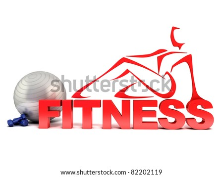 fitness 3d concept - stock photo