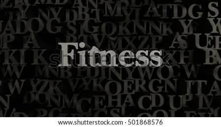Fitness - 3D rendered metallic typeset headline illustration.  Can be used for an online banner ad or a print postcard.