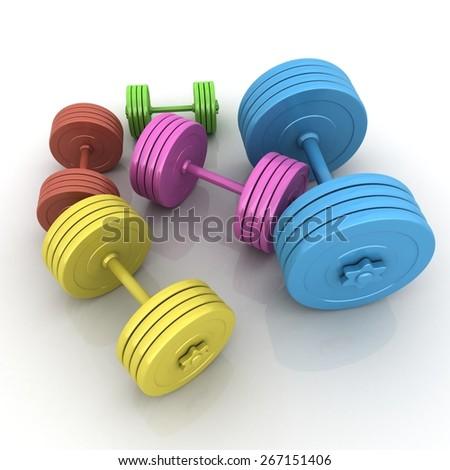 Fitness dumbbells - stock photo