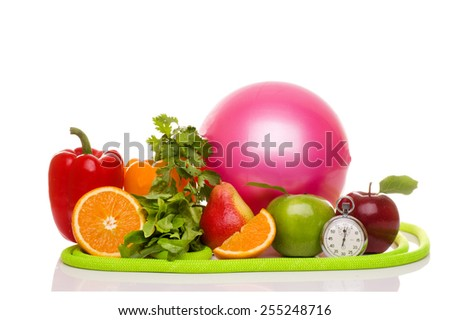 fitness equipment and healthy food isolated on white (green and red apples, pepper, salad,orange, pear, measuring tape, jump rope, ball) - stock photo