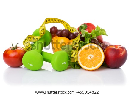 fitness equipment and healthy food isolated on white (green apple, pepper, grapes, nectarines, kiwi, orange, dumbbells and measuring tape)