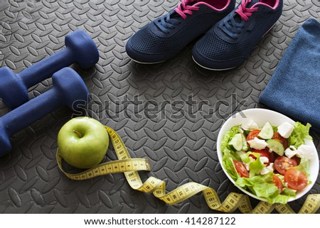 fitness equipment and ingredients for diet - stock photo