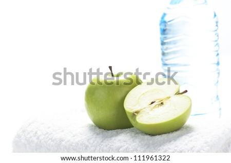 Fitness equipment towel, apples