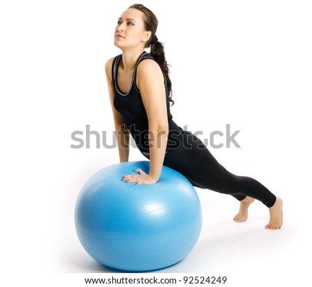fitness exercises with blue ball - stock photo