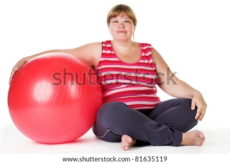 fitness for fat woman. Isolated on white