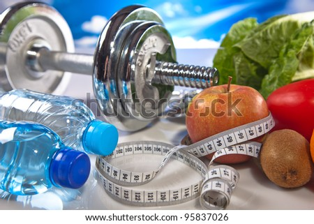 fitness gear and  food - stock photo