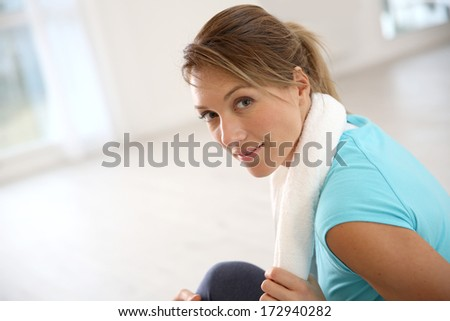 Fitness girl after exercising - stock photo