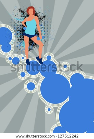 Fitness girl poster or flyer background with space