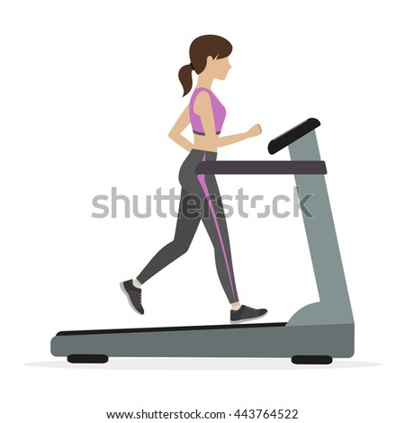Fitness girl running on the treadmill, cardio machine. - stock photo