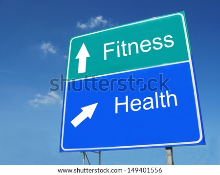Fitness-Health road sign - stock photo