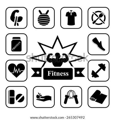 Fitness icon set on white background - stock photo
