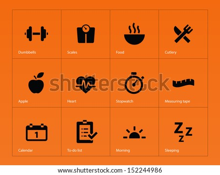 Fitness icons on orange background. See also vector version. - stock photo