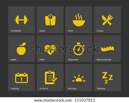 Fitness icons. See also vector version. - stock photo