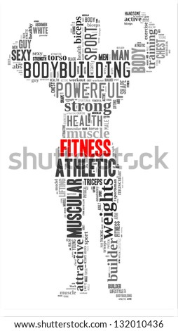 Fitness info-text graphic and arrangement concept on white background (word cloud) - stock photo
