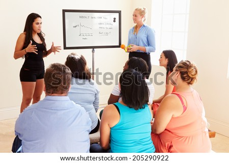 Fitness Instructor Addressing Overweight People At Diet Club