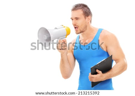 Fitness instructor shouting on a megaphone isolated on white background - stock photo