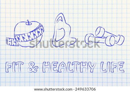 fitness lifestyle and healthy food, taking care of mind body and soul - stock photo
