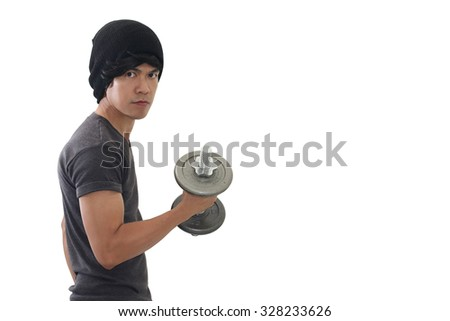 fitness man dumbbell