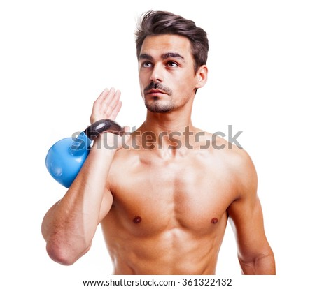 Fitness man lifing dumbbell on white background