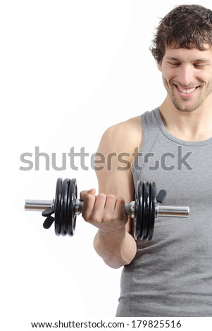 Fitness man training doing weights exercises isolated on a white background               - stock photo