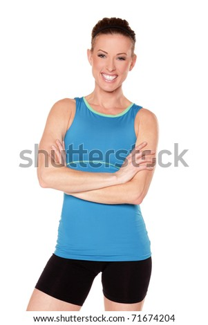 Fitness model on white background - stock photo