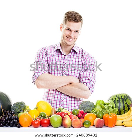 Fitness Model with Fruits and Vegetables - stock photo