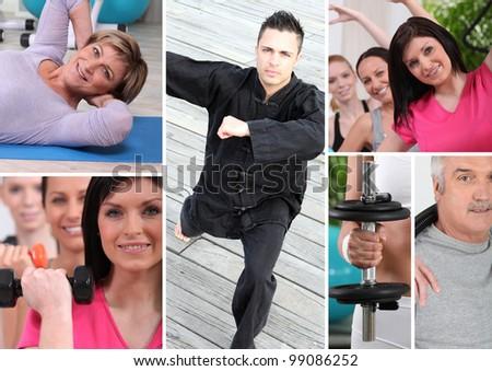 Fitness mosaic - stock photo