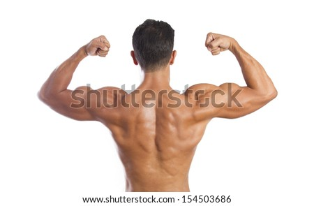 fitness muscled man back - stock photo