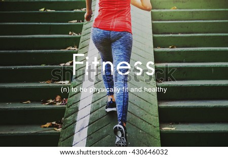 Fitness Outdoors Exercise People Graphic Concept - stock photo