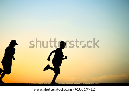 Fitness silhouette sunrise jogging workout wellness concept. - stock photo