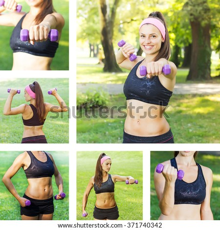 Fitness Slim Woman Training with dumbbells. Collage of attractive female practicing using hand weights outdoor. Healthy lifestyle workout concept. - stock photo
