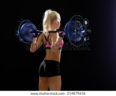 fitness, sport and dieting concept - sporty woman exercising with barbell from back - stock photo