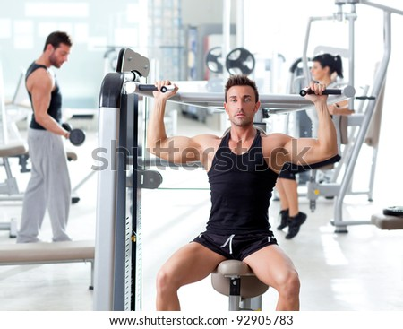 fitness sport gym group of people training with weights - stock photo