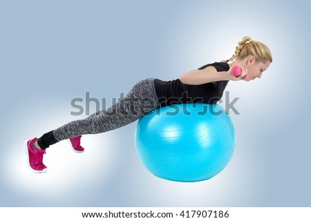 fitness, sport, training and lifestyle concept - smiling woman with exercise ball