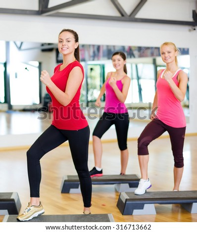fitness, sport, training, gym and lifestyle concept - group of smiling people doing aerobic - stock photo